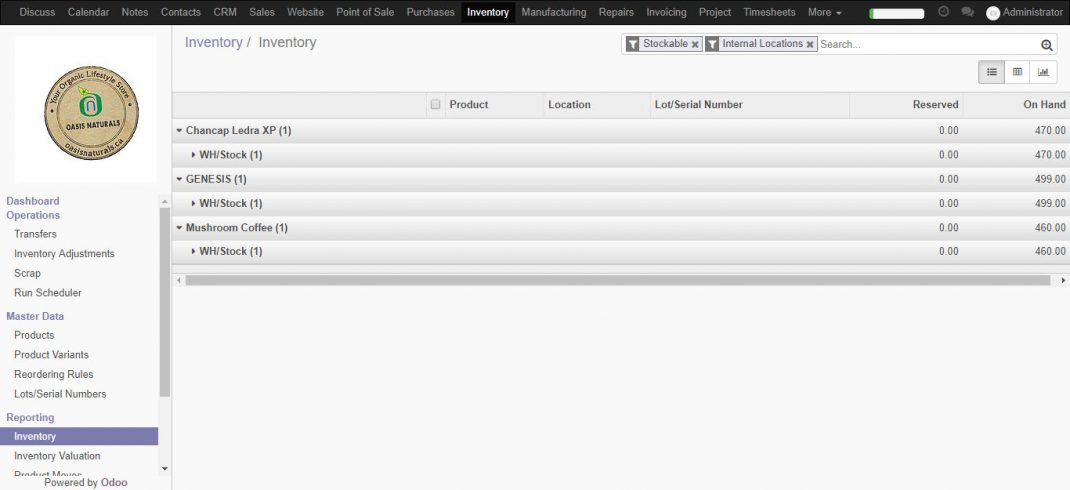 Inventory Management Odoo